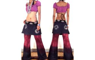 HIPPIE BOHO PANTS TROUSERS WITH ATTACHED SKIRT Q12 Image