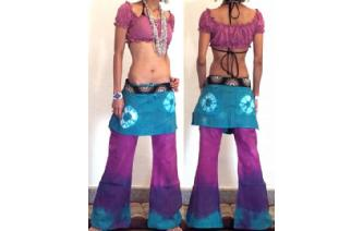HIPPIE BOHO PANTS TROUSERS WITH ATTACHED SKIRT Q13 Image