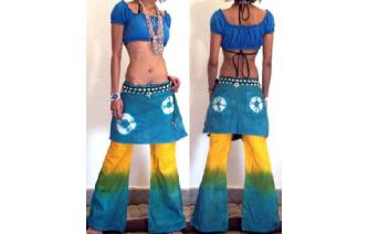 HIPPIE BOHO PANTS TROUSERS WITH ATTACHED SKIRT Q14 Image