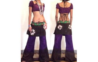 HIPPIE BOHO PANTS TROUSERS WITH ATTACHED SKIRT Q15 Image