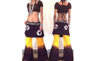 HIPPIE BOHO PANTS TROUSERS WITH ATTACHED SKIRT Q16 Image