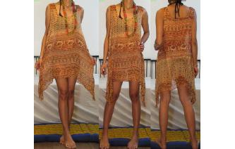 ETHNIC VTG BOHO COTTON GAUZE SHEER MINI DRESS A71 Image