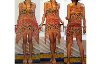 ETHNIC VTG BOHO COTTON GAUZE SHEER MINI DRESS A72 Image