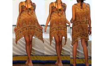 ETHNIC VTG BOHO COTTON GAUZE SHEER MINI DRESS A73 Image