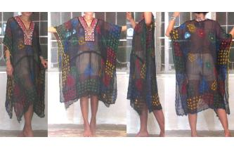 SEXY Vtg EMBROIDERED MIRRORS KAFTAN SHEERS DRESS A Image