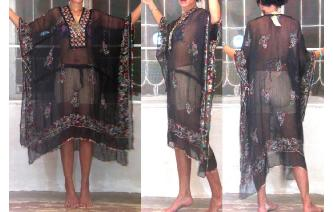 SEXY Vtg EMBROIDERED MIRRORS KAFTAN SHEERS DRESS D Image