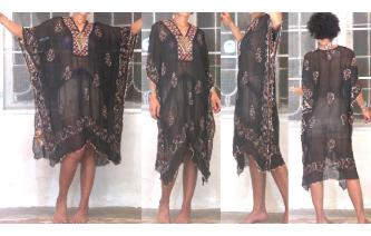 SEXY Vtg EMBROIDERED MIRRORS KAFTAN SHEERS DRESS H Image