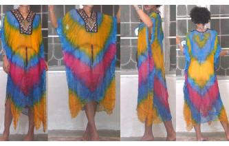 SEXY Vtg TIEDYE MIRRORS EMB KAFTAN SHEERS DRESS I Image