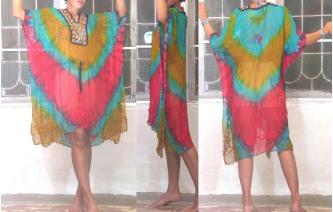 SEXY Vtg TIEDYE MIRRORS EMB KAFTAN SHEERS DRESS J Image
