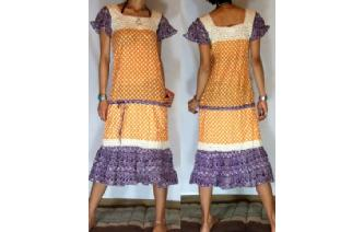 BOHO Vtg POLKA DOT CROCHET ANGEL DAY TEA DRESS A1 Image