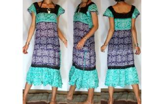 BOHO Vtg POLKA DOT CROCHET ANGEL DAY TEA DRESS A2 Image