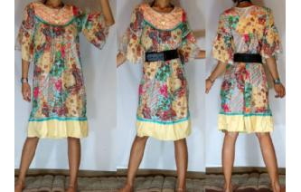Vtg PAISLEY EMBROIDERED BELL SLV DAY TEA DRESS A6 Image