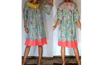 Vtg PSYCHEDELIC EMBROIDERED BELL DAY TEA DRESS A7 Image
