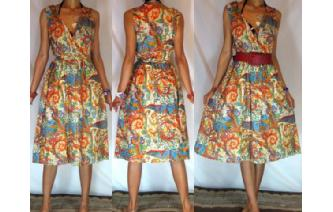 Vtg PSYCHEDELIC PAISLEY V NECK SHEER SUN DRESS A8 Image