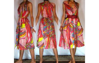 Vtg 50's PSYCHEDELIC V SHEER DAY SUN DRESS 12 A9 Image