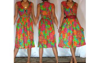 Vtg FLOWERS POWERS SHEER DAY SUN DRESS S-M-L A11 Image