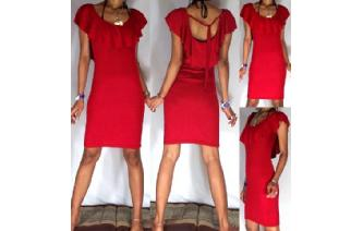 Vtg RED RUFFLED PENCIL WIGGLE PARTY DAY DRESS A14 Image