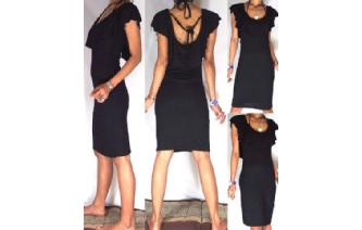 Vtg 80 BLACK RUFFLED PENCIL WIGGLE PARTY DRESS A15 Image