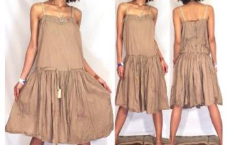 BOHO Vtg 50's BEIGE BABYDOLL BELT PARTY DRESS A19 Image