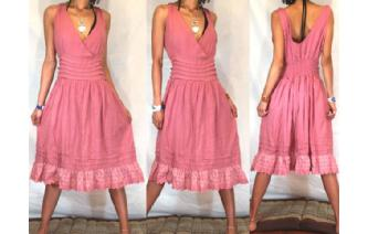 BOHO Vtg 80's V RUFFLED EMBROID DAY SUN DRESS A29 Image