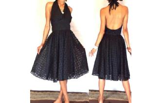 Vtg BLACK EMBROIDE LACE ROCKABILLY PARTY DRESS A30 Image