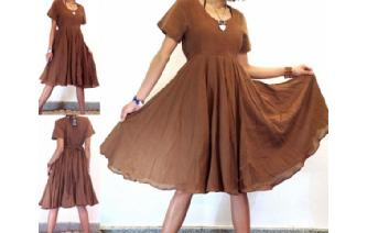 BOHO VTG 50' ROCKABILLY SWING FULL SKIRT DRESS A31 Image