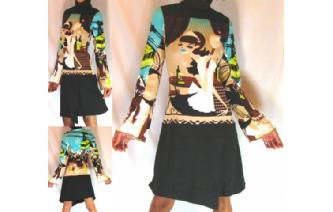 Vtg TURTLE NECK OP ART FUNKY PARTY INDIE DRESS A32 Image