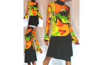 VTG TURTLE NECK FUNKY FANCY PARTY INDIE DRESS A33 Image