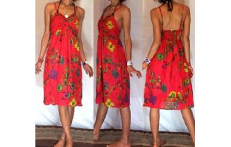 Vtg FLOWERS PAISLEY RUFFLED BUST PARTY DRESS S A34 Image