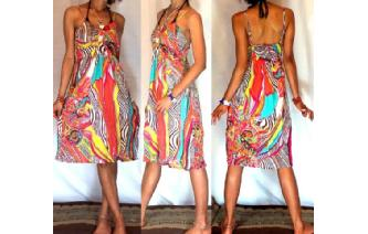 Vtg 70's PSYCHEDELIC RUFFLED PARTY SUN DRESS A36 Image
