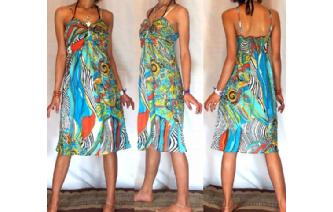 Vtg PSYCHEDELIC RUFFLED PROM PARTY SUN DRESS A37 Image