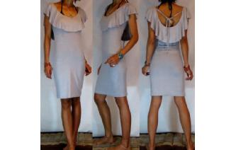 Vtg RUFFLED PENCIL WIGGLE PARTY DAY DRESS 6-8 A41 Image