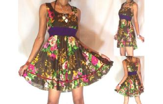 NEW Vtg 50's FLOWERS EMPIRE ROCKABELLY DRESS A45 Image