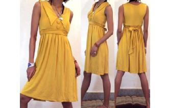 Vtg COLAR BIG BOTTONS EMPIRE PARTY DAY DRESS M A49 Image