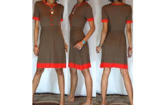 Vtg ACRYLIC+WOOL KINTTED PLEATED DRESS +BELT M A52 Image
