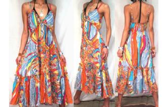 Vtg 70's PSYCHEDELIC SHEER DEEP V RUFFLE DRESS A54 Image
