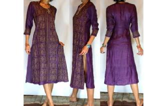 Vtg ETHNIC SILK EMBROIDERED BOHO KAFTAN DRESS A59 Image