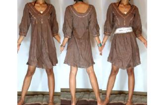 Vtg COCO BROWN 3/4 PUFF SLV RIBBON DOCOR DRESS A66 Image