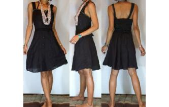 VTG BLACK GREY SQUARE NECK BOW DAY TEA DRESS S A67 Image