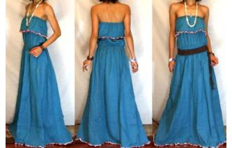 LONG STRAPLESS RUFFLED CROCHET MAXI SUN DRESS O56 Image