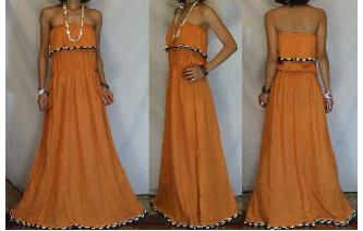 LONG STRAPLESS RUFFLED CROCHET MAXI SUN DRESS O57 Image