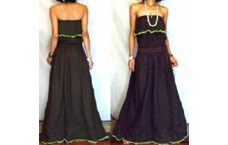 LONG STRAPLESS RUFFLED CROCHET MAXI SUN DRESS O58 Image