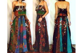 Vtg ETHNIC PANELED STRAPLESS GOTH MAXI DRESS O59 Image