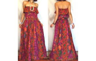 Vtg ETHNIC PANELED STRAPLESS GOTH MAXI DRESS O60 Image