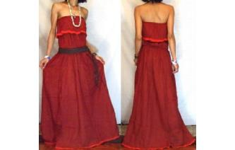 LONG STRAPLESS RUFFLED CROCHET MAXI SUN DRESS O61 Image