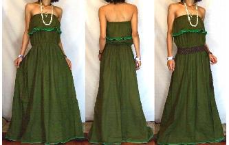 LONG STRAPLESS RUFFLED CROCHET MAXI SUN DRESS O63 Image