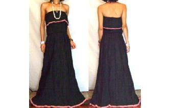 LONG STRAPLESS RUFFLED CROCHET MAXI SUN DRESS O64 Image