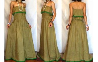 LONG STRAPLESS RUFFLED CROCHET MAXI SUN DRESS O65 Image