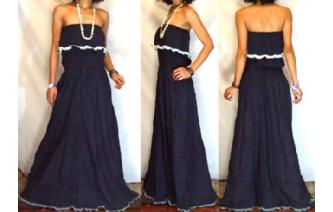 LONG STRAPLESS RUFFLED CROCHET MAXI SUN DRESS O66 Image