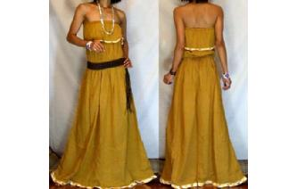 LONG STRAPLESS RUFFLED CROCHET MAXI SUN DRESS O67 Image